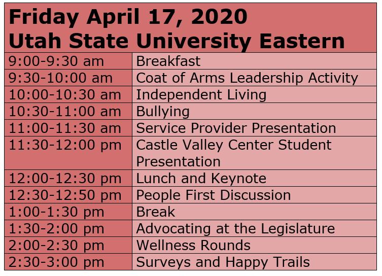 Price Self-Advocacy Conference Tentative Agenda