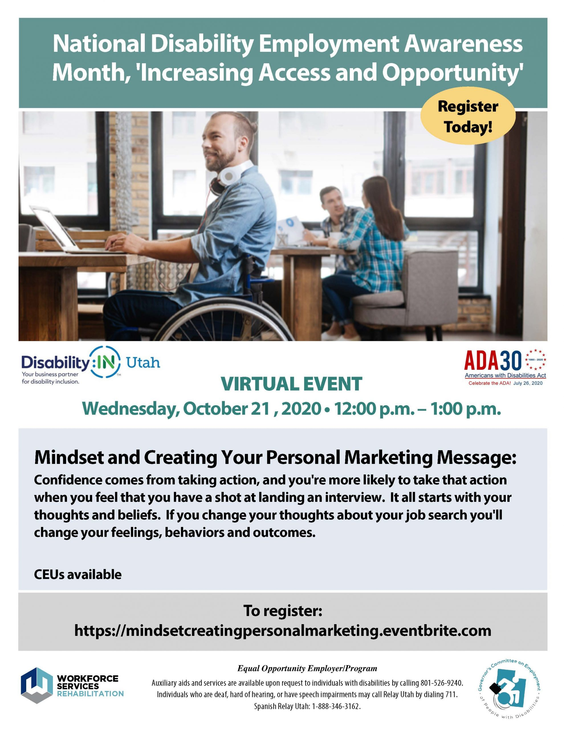 Lunch and Learn Mindset and Creating Your Personal Marketing Messsage Flyer